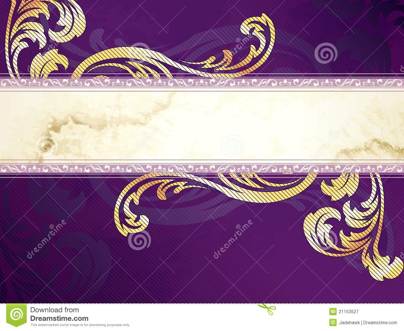 Gold And Purple Horizontal Victorian Banner Stock Vector