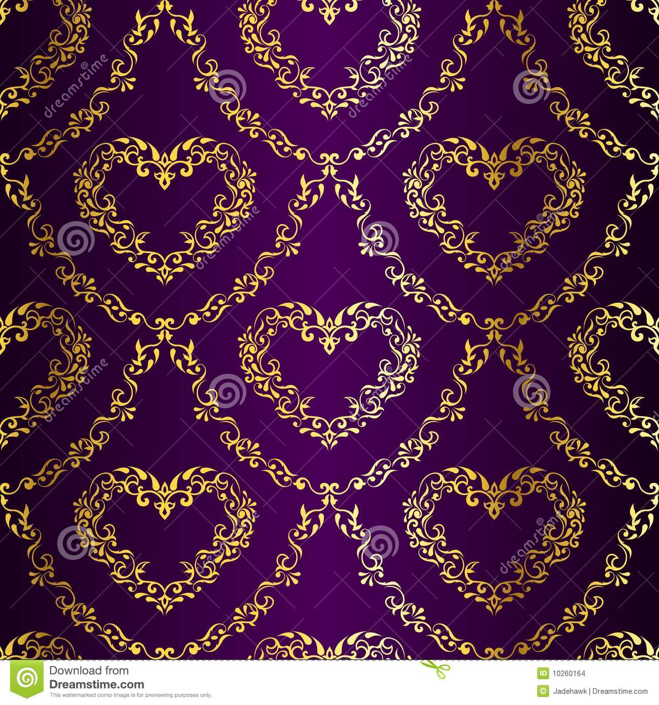 Gold-on-Purple Seamless Sari Pattern With Hearts Stock ...