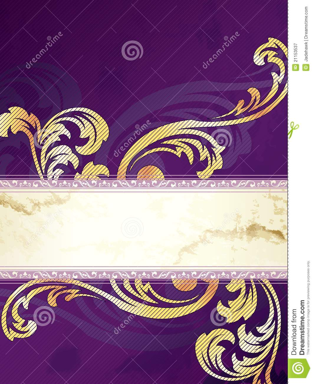 Gold And Purple Vertical Victorian Banner Royalty Free