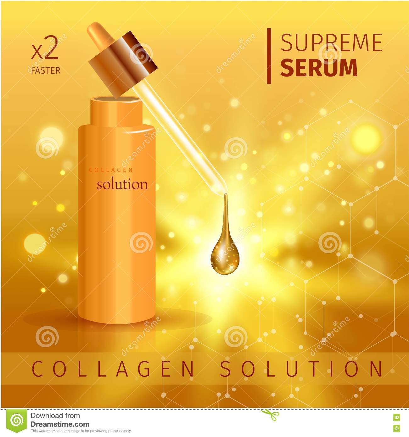 Gold Realistic Cosmetic Tube Poster With Collagen Solution