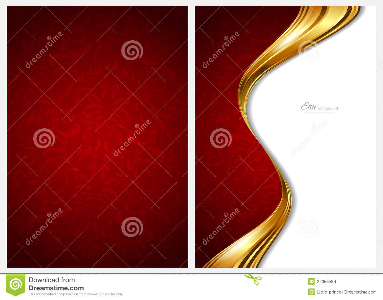 Gold And Red Abstract Background, Front And Back Stock ...