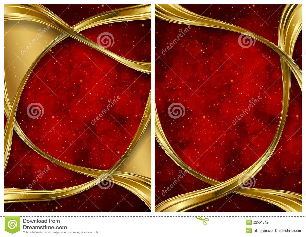 Gold And Red Abstract Backgrounds Stock Illustration