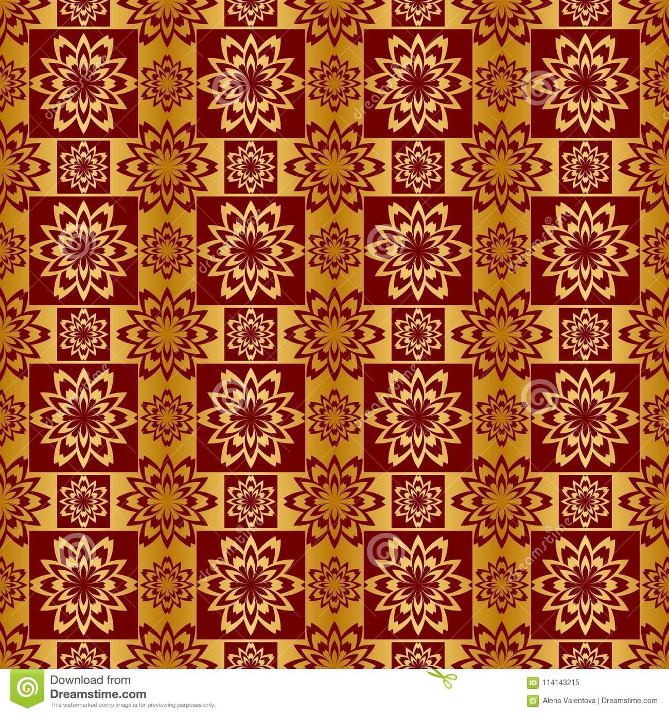 Gold And Red Metallic Regular Seamless Pattern Stock Illustration