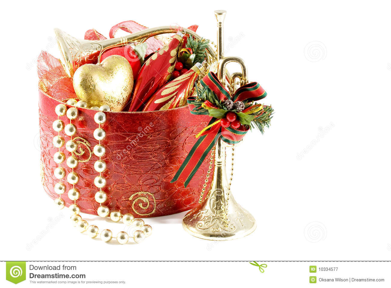 gold and red christmas decorations royalty free stock. Black Bedroom Furniture Sets. Home Design Ideas