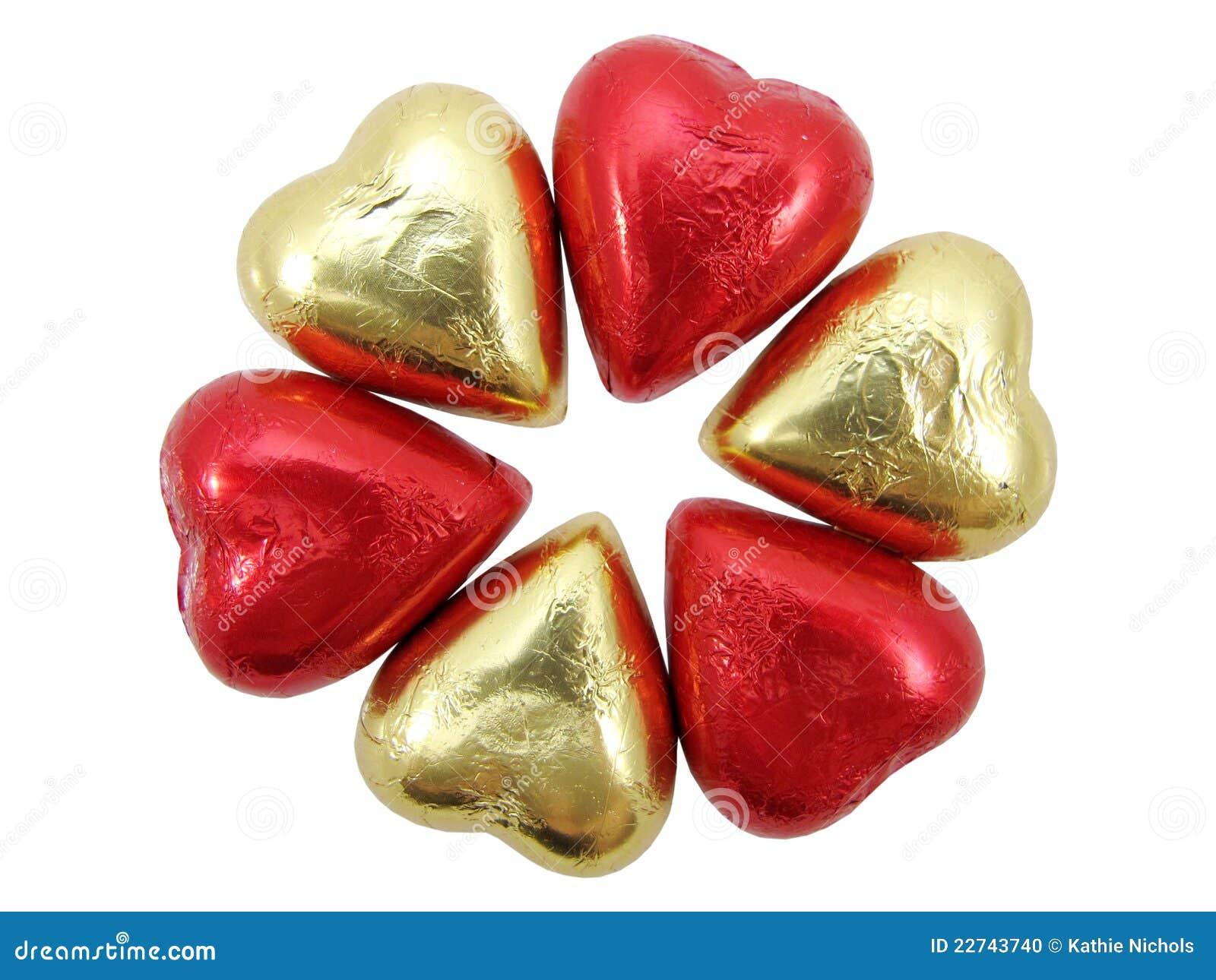 White Foil Chocolate Hearts