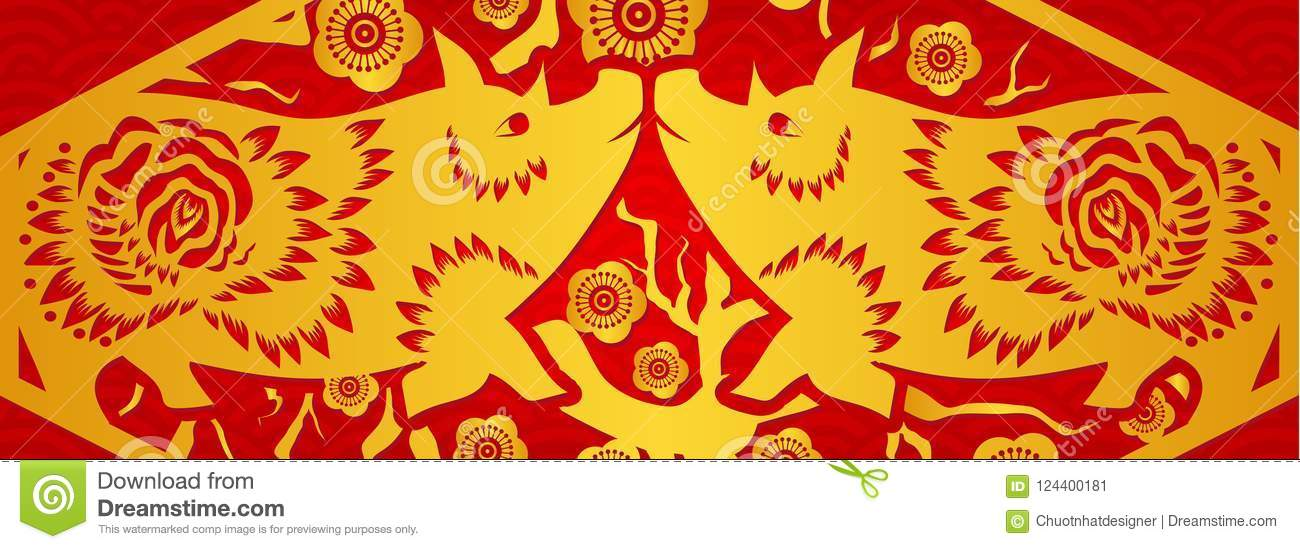 download gold on red pig horizontal banner for chinese new year year of the pig