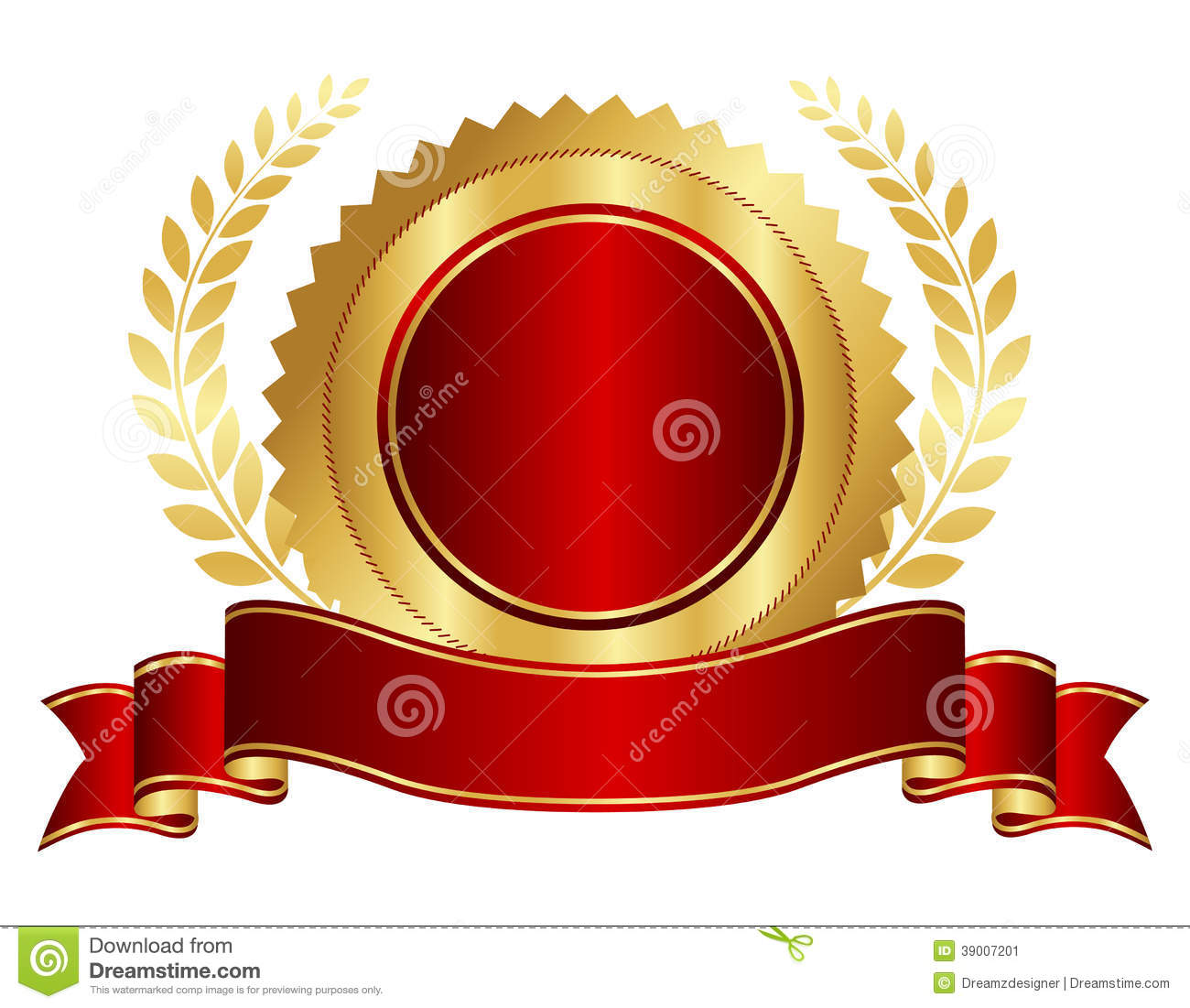 Gold And Red Seal With Ribbon Stock Vector Image 39007201