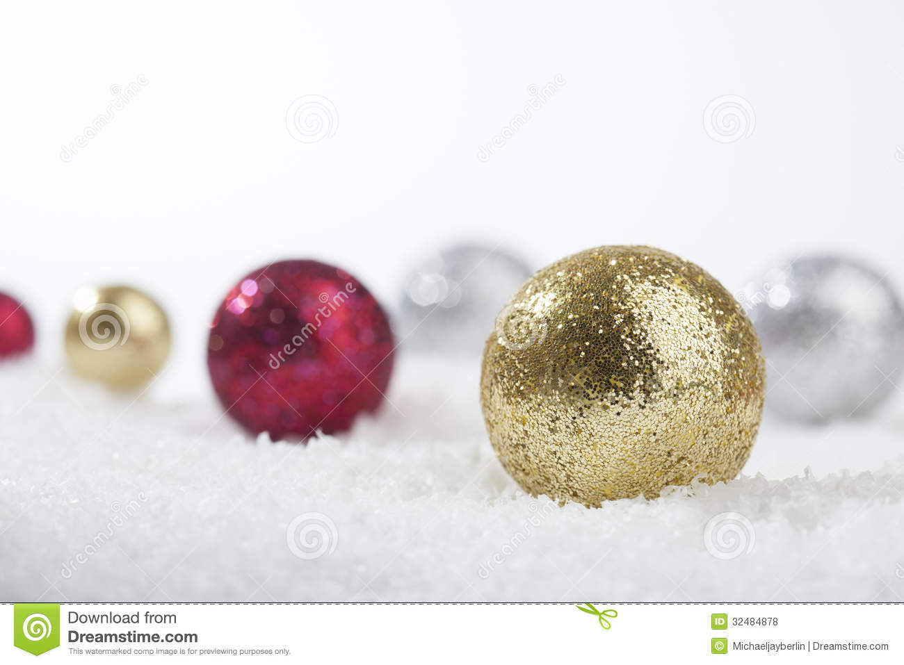 Gold red and silver christmas decoration balls stock