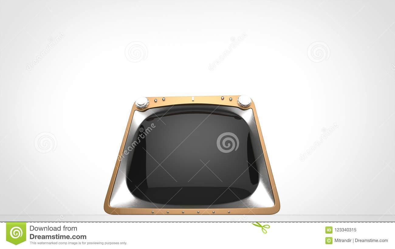 Gold retro TV set - front view wide angle shot