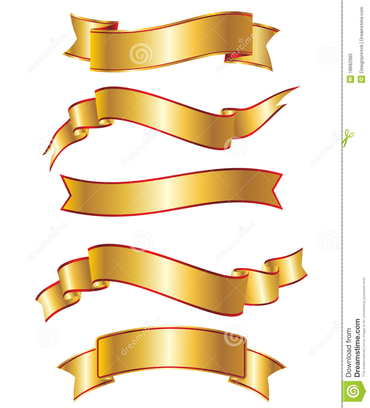 Contoh Banner: Gold Ribbon Banner Collection Set Royalty Free Stock Photo