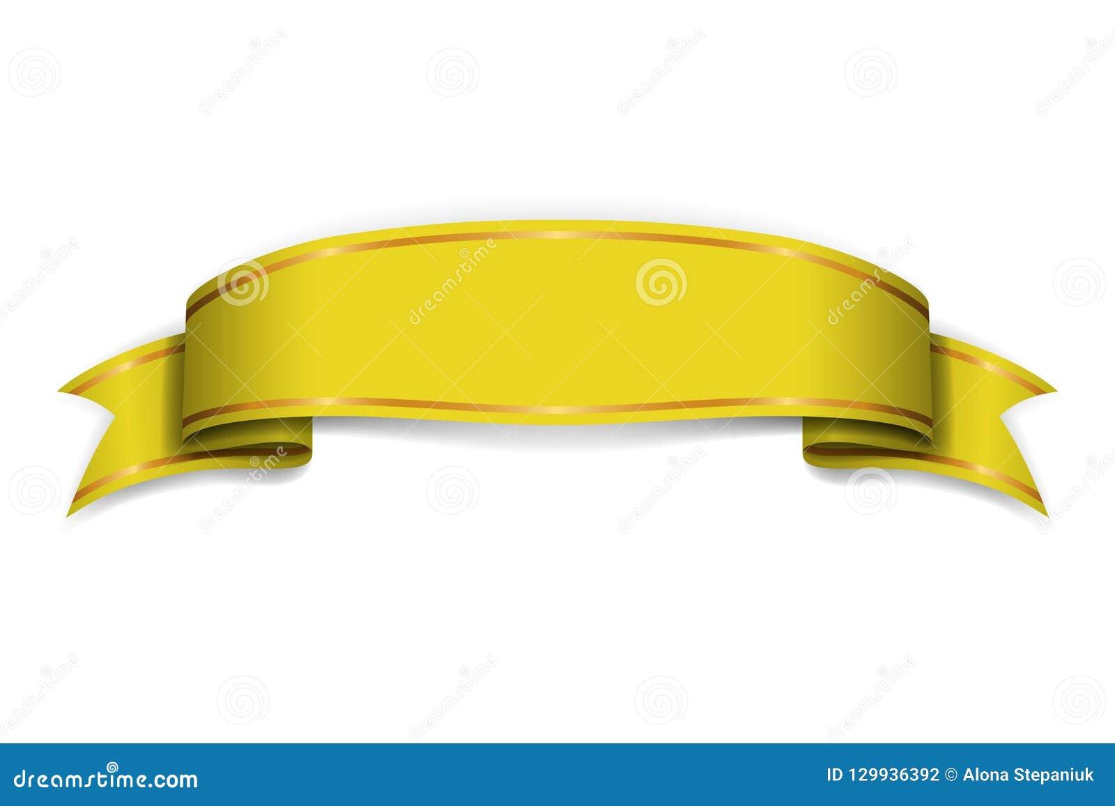 Gold Ribbon Banner  Golden Satin Glossy Bow Blank  Design Label