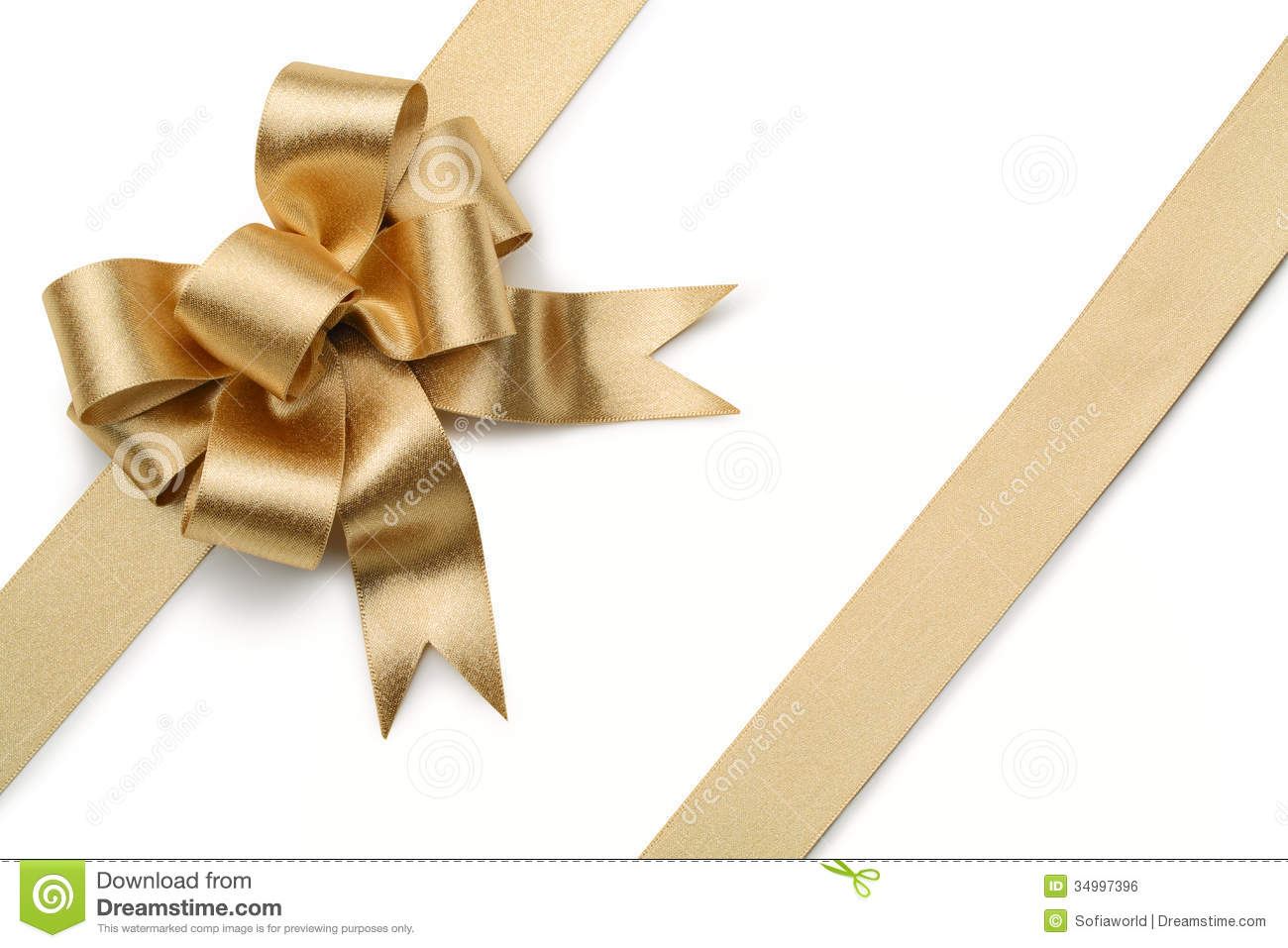 gold ribbon with bow stock photo image of gold decoration 34997396