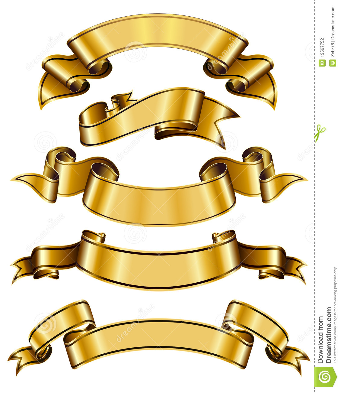 Gold Ribbon Collection Stock Photography - Image: 13567752