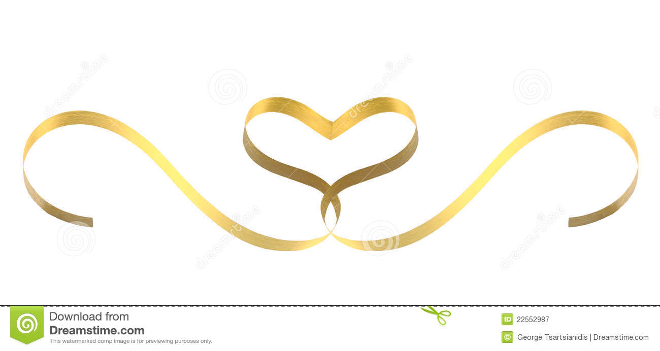 Gold Ribbon Heart Royalty Free Stock Photography - Image: 22552987
