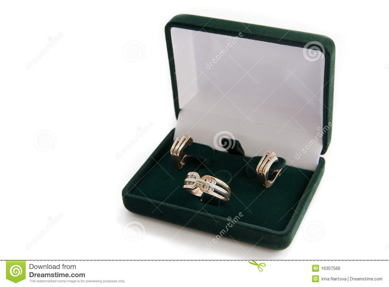 Gold Ring And Earrings In A Jewelry Box Stock Photo Image of