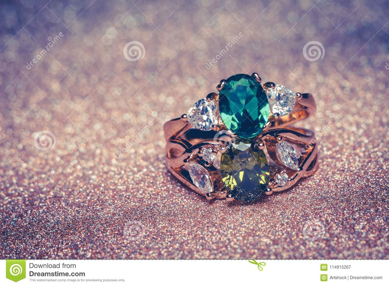 Gold Ring With Green Stone Retro Stock Image - Image of white, gift ...