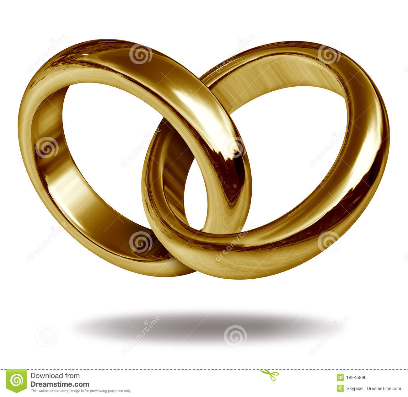Wedding rings linked together to form the golden shape of a heart ...