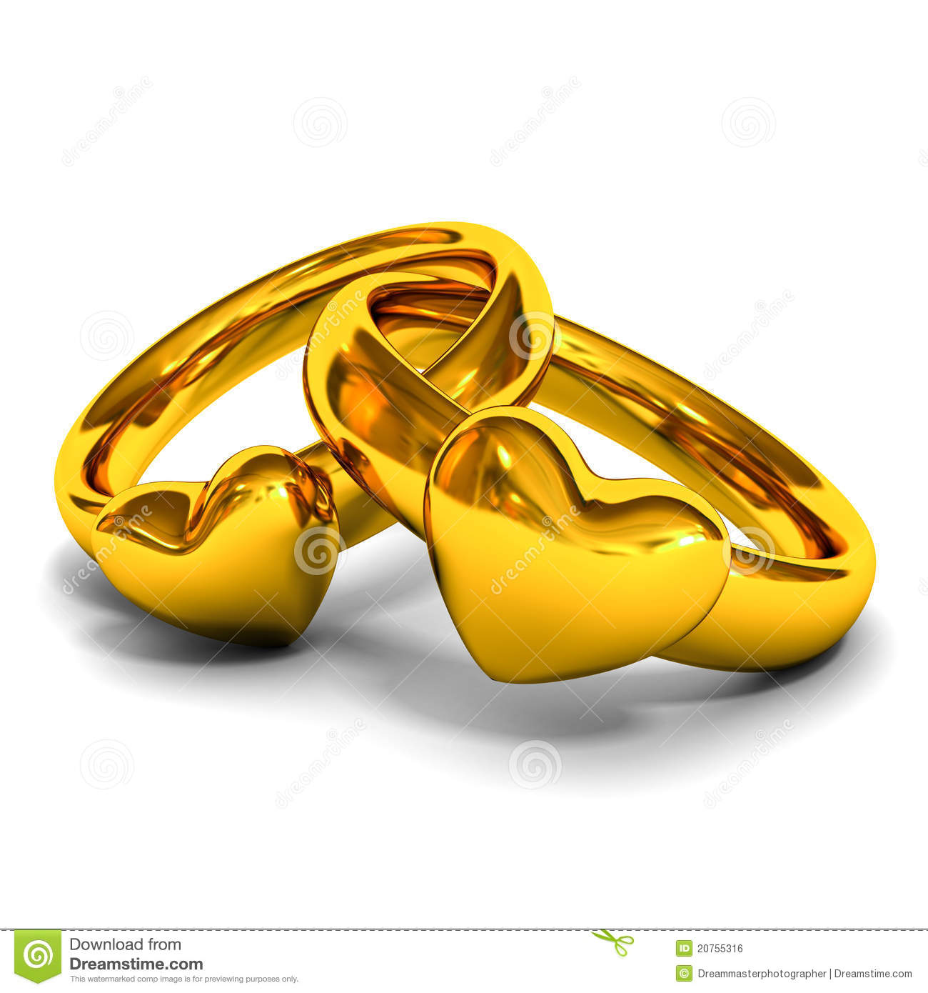 Gold Rings With Heart Shape Stock Photo - Image of object, female ...