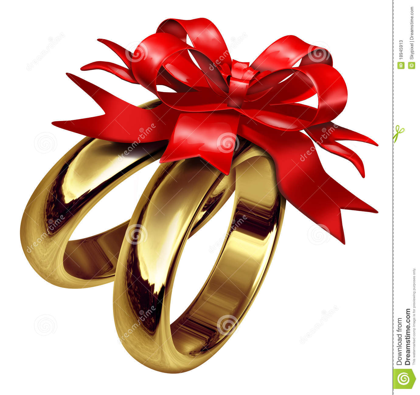 Gold Rings With Red Bow And Ribbon Stock Photos Image
