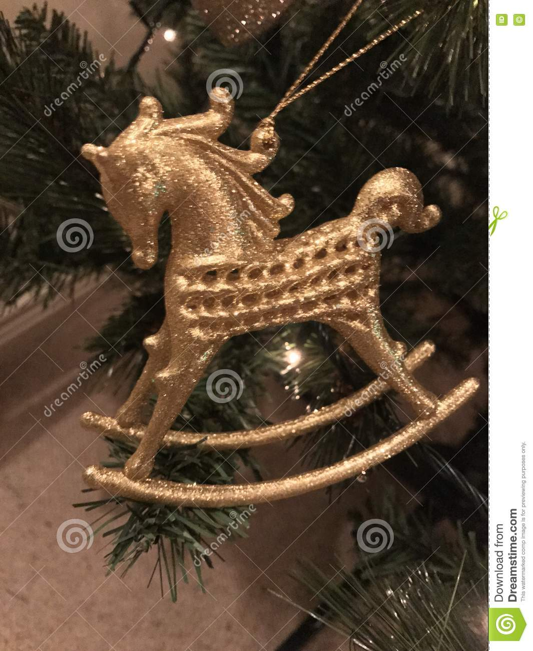 Christmas Close Gold Horse Ornament Rocking