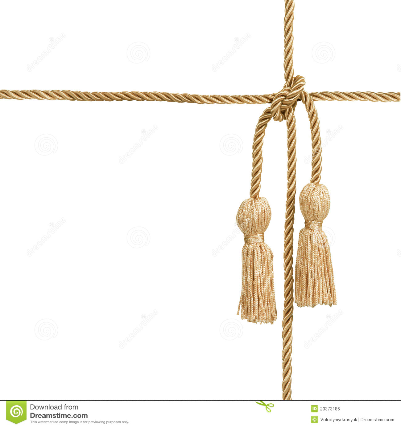 Gold rope with tassel stock photo. Image of classical ...