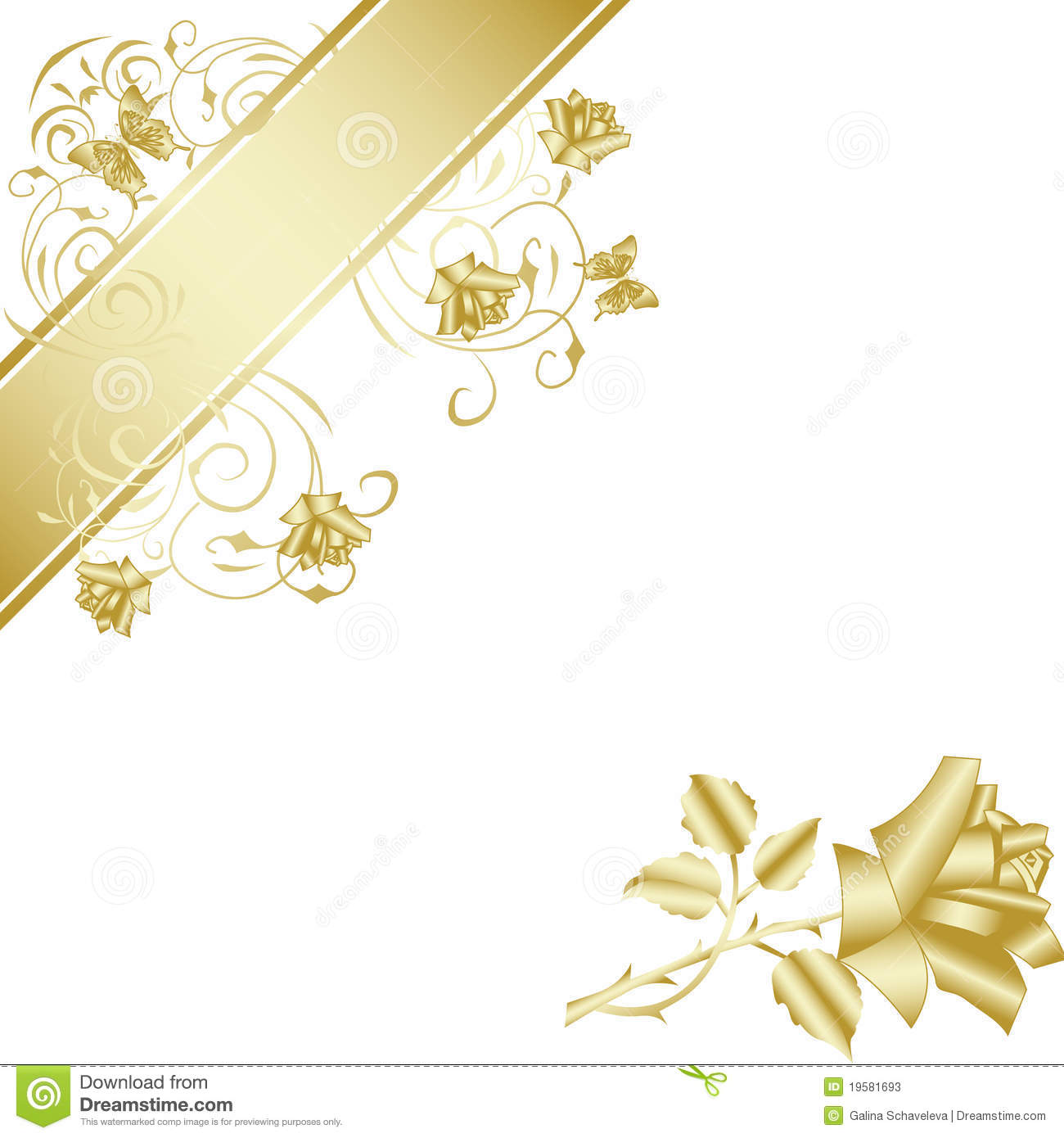 Gold Rose On White Background Stock Photos - Image: 19581693