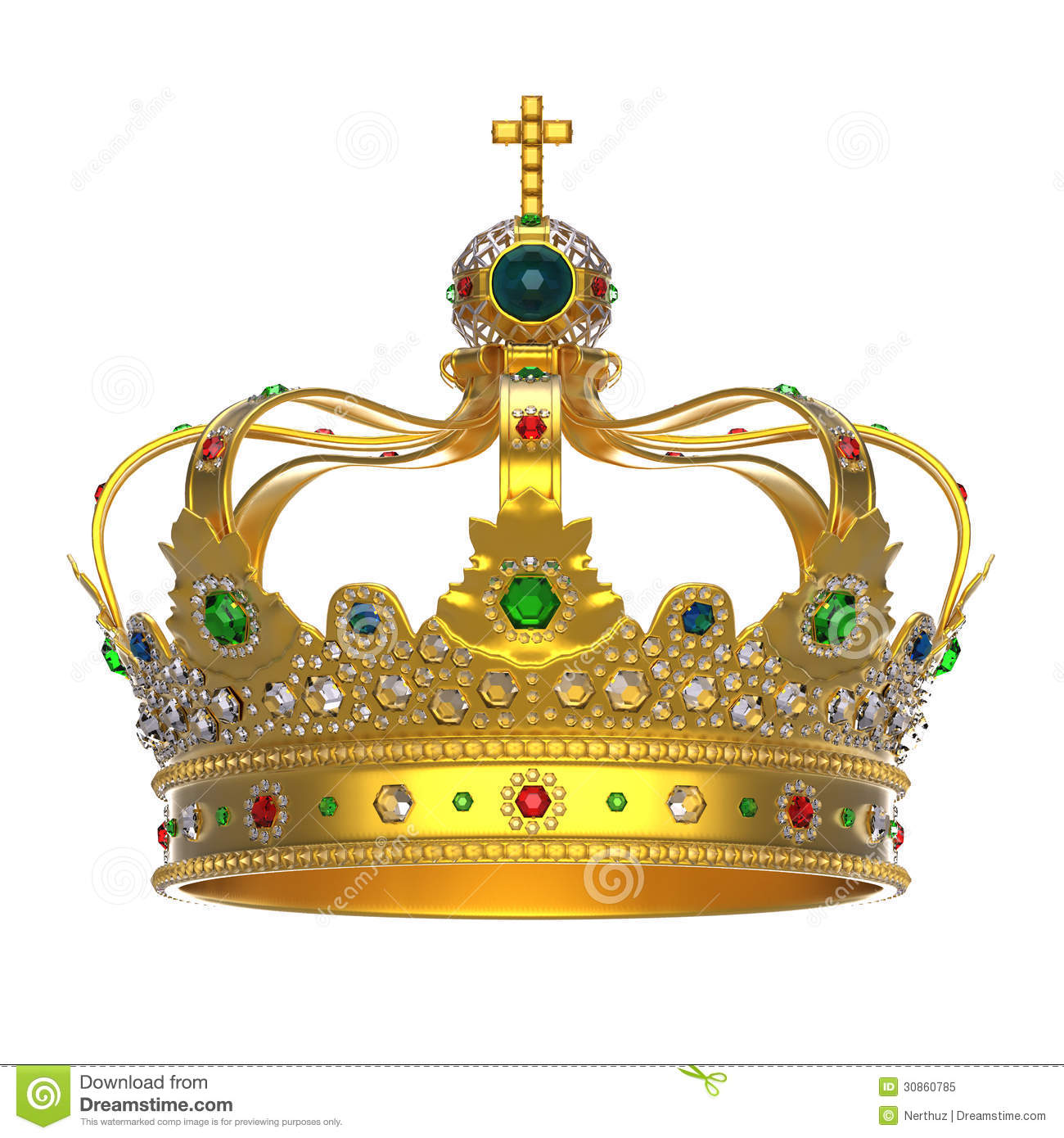 Gold Royal Crown With Jewels Royalty Free Stock Photo - Image ...