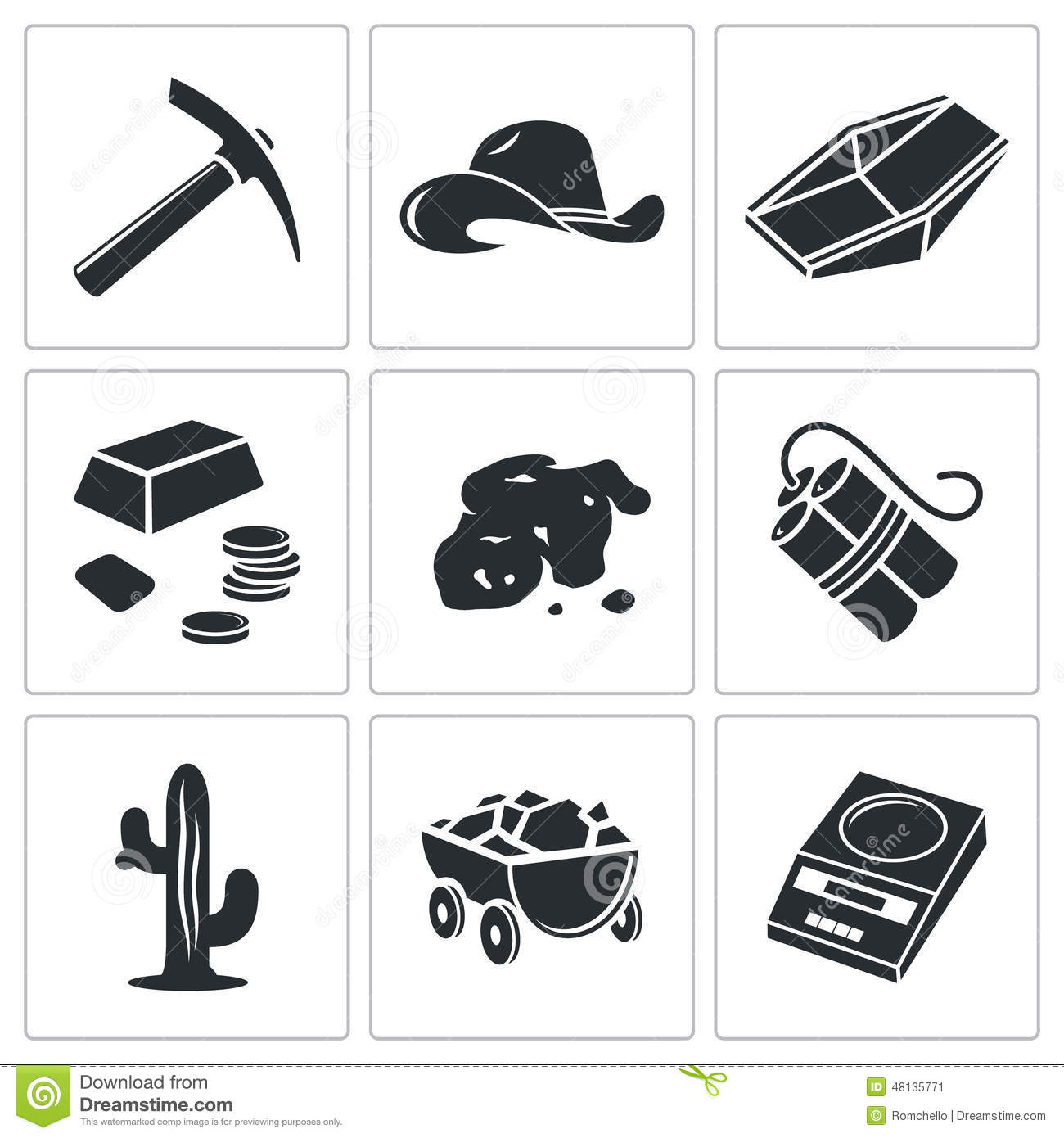 ... mining Vector Isolated Flat Icons collection on a white background