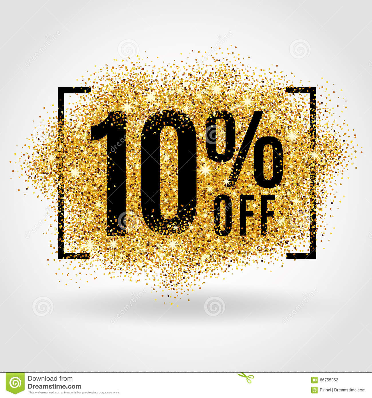 gold sale 10 percent stock vector illustration of shape 66755352