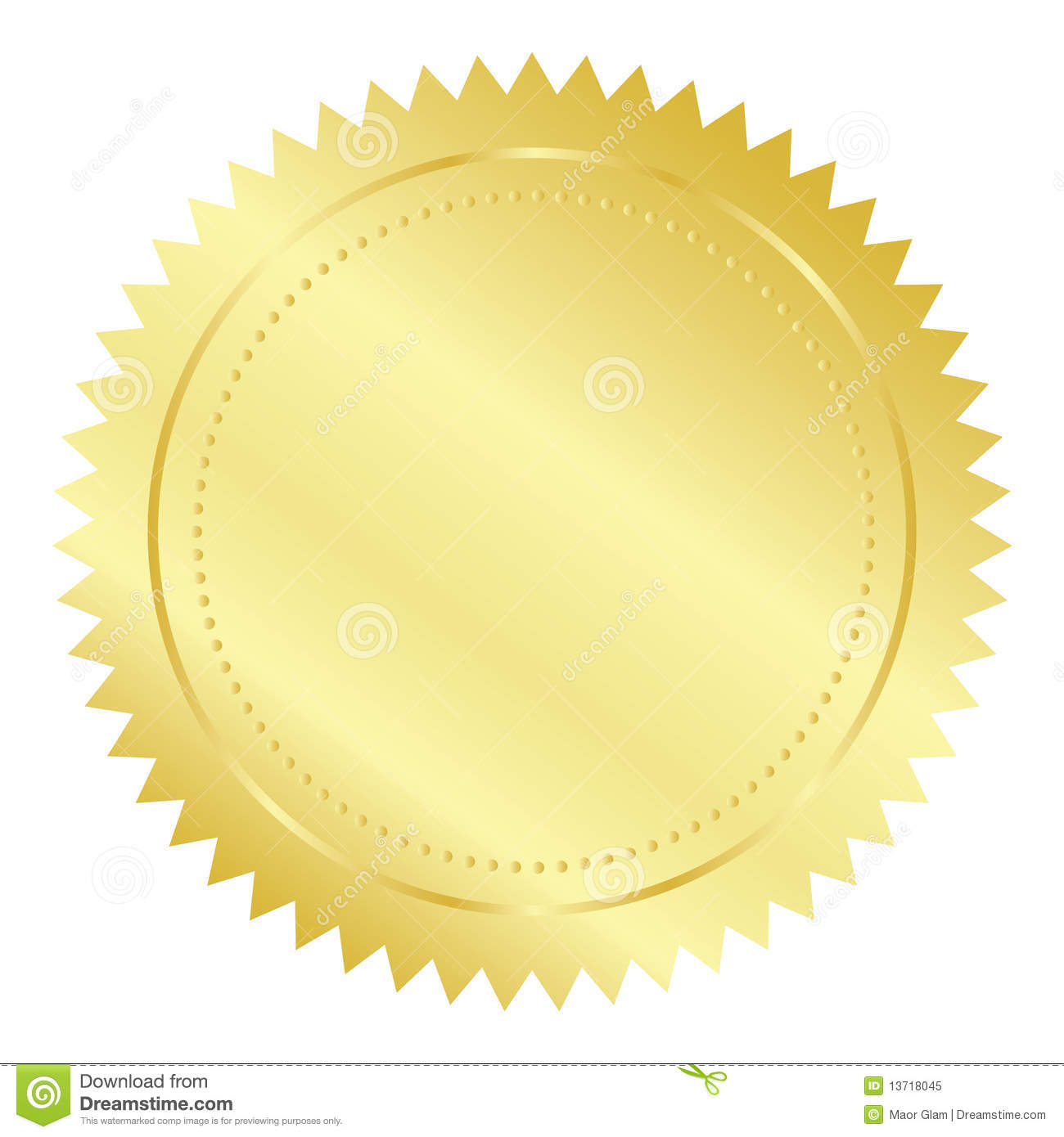 Gold Seal With Red Ribbon Vector Illustration