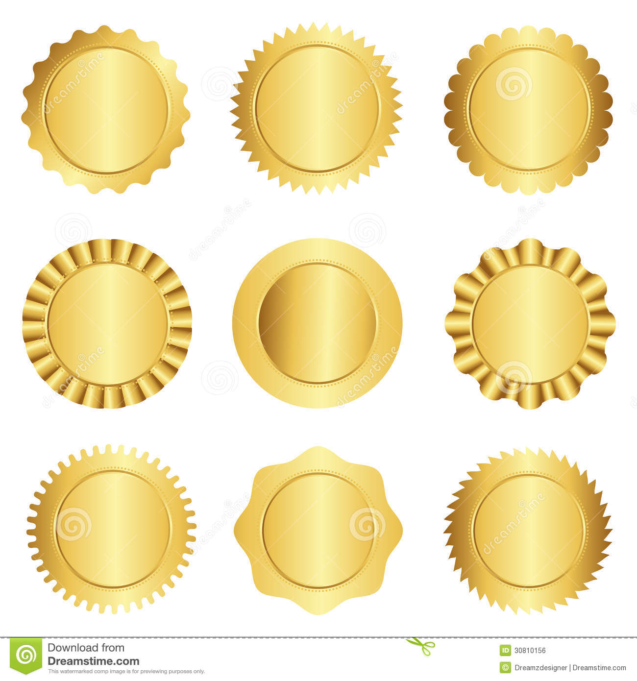 Set Of Different Gold Approval Seal Stamp Badge And Rosette Shapes Isolated On White