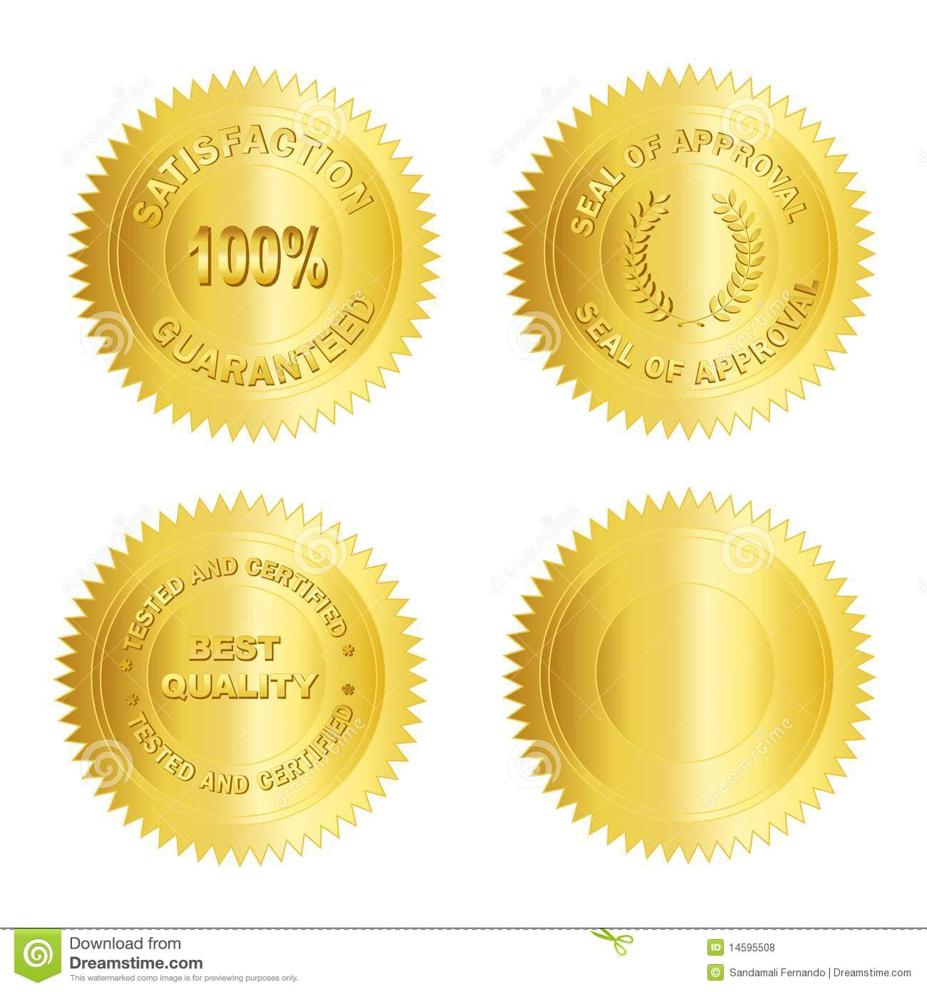 Isolated Blank Gold stamp / seal for certificates. including ...