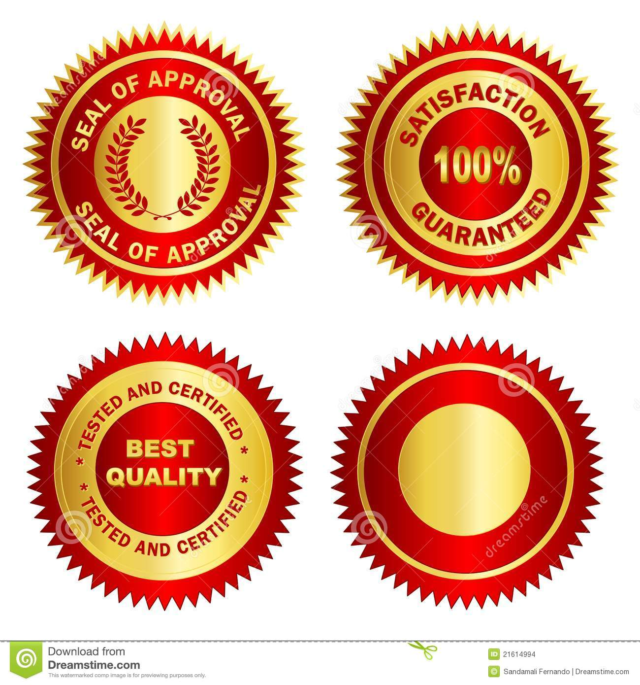 gold seal   stamp   medal blank stock vector