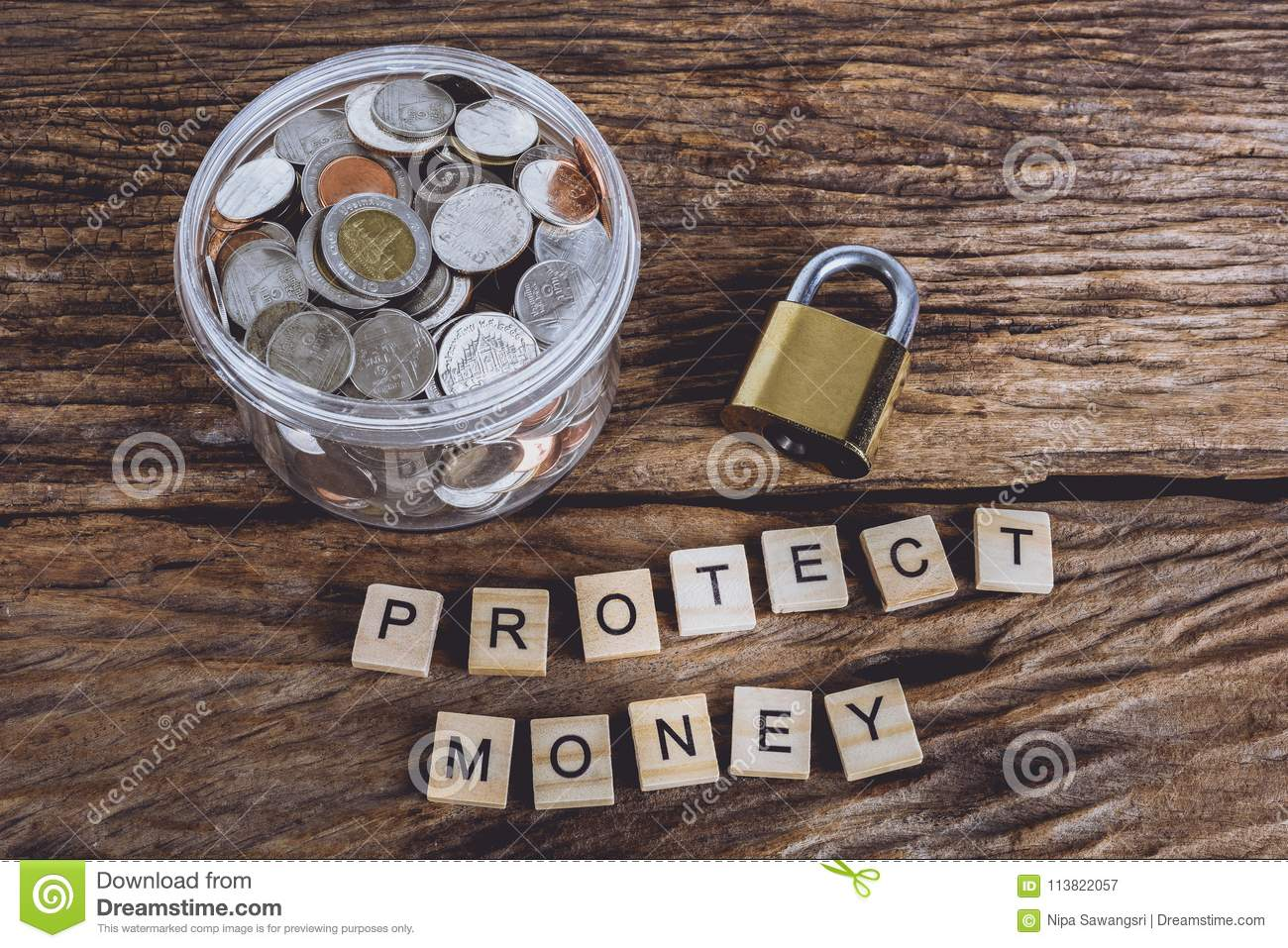 Gold Security Lock And Full Coins With Jar, Words PROTECT