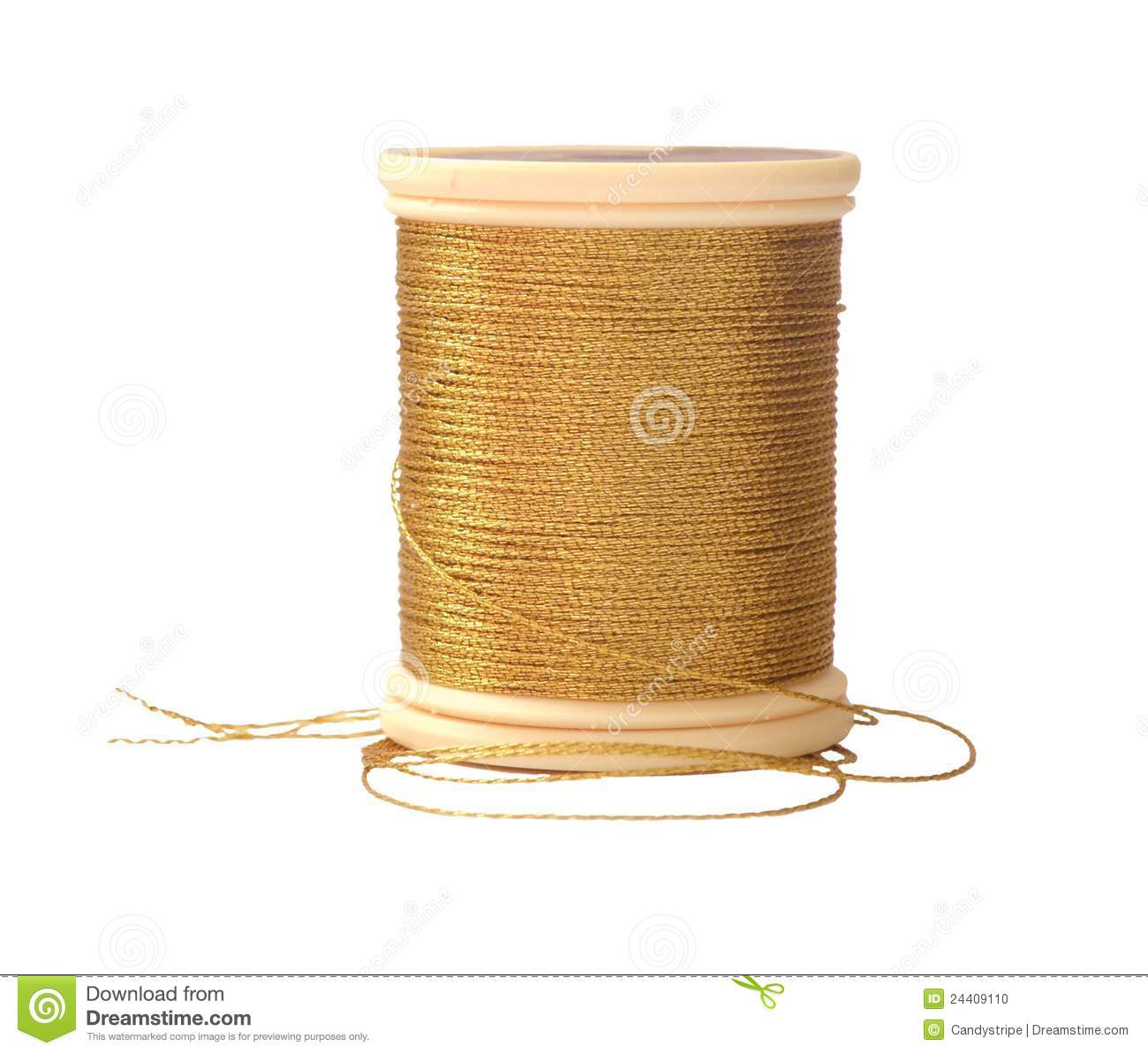 Gold sewing thread stock photo image of object fashion