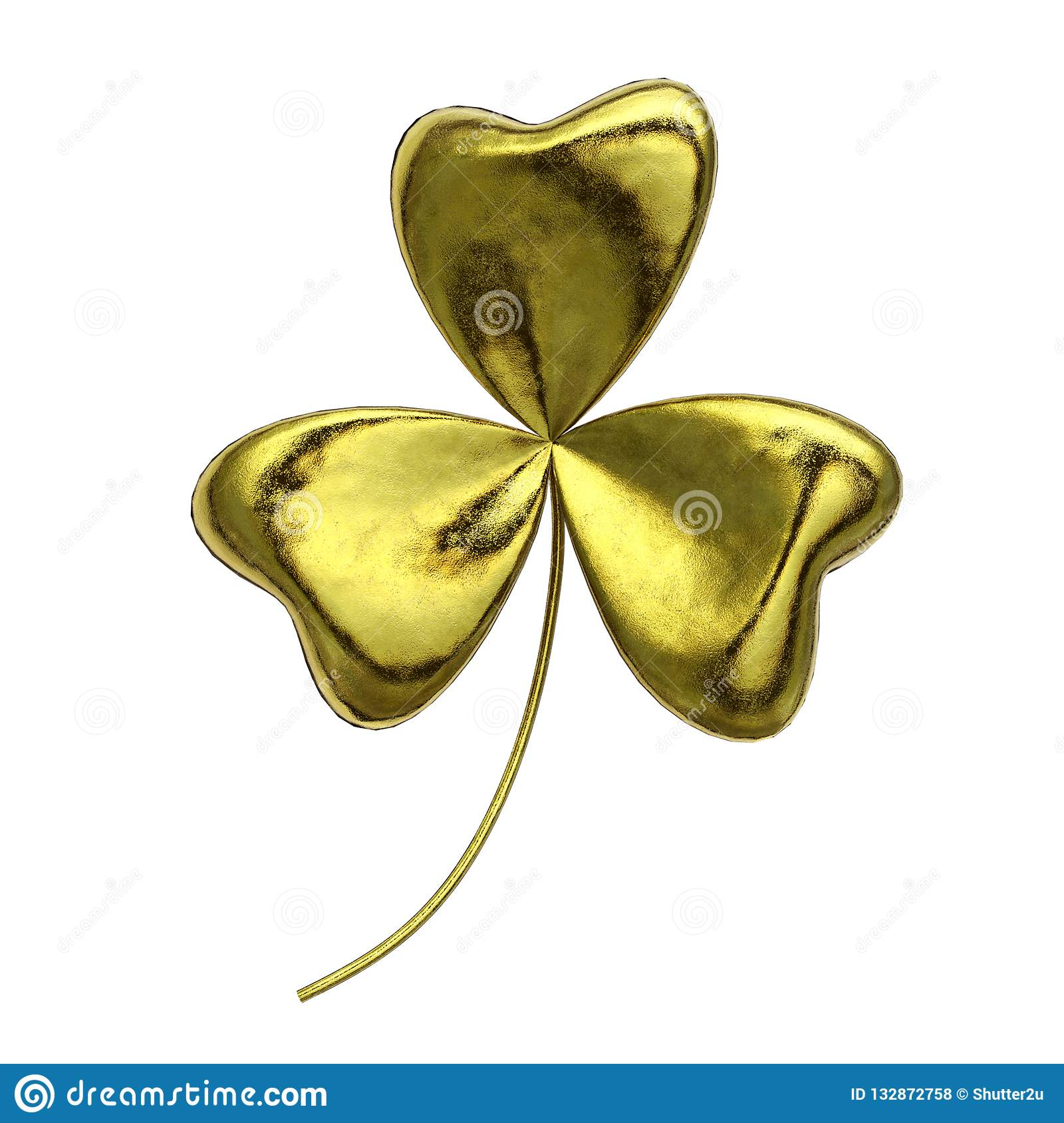 Gold shamrock on isolated white background. Object and Nature concept. Saint Patrick day theme. 3D illustration rendering.
