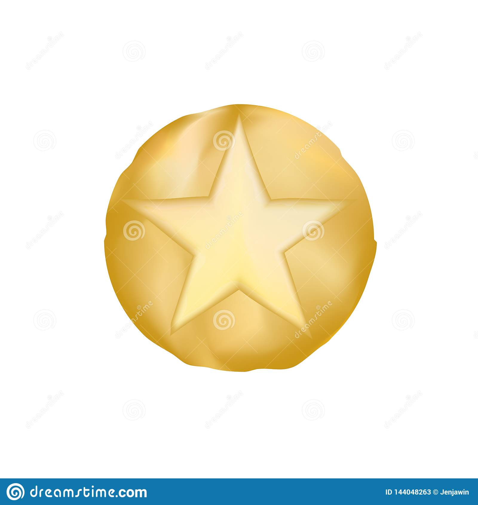 GOLD sheriff star vector eps10. old style star from texas. Vector Golden Sheriff Star over white background