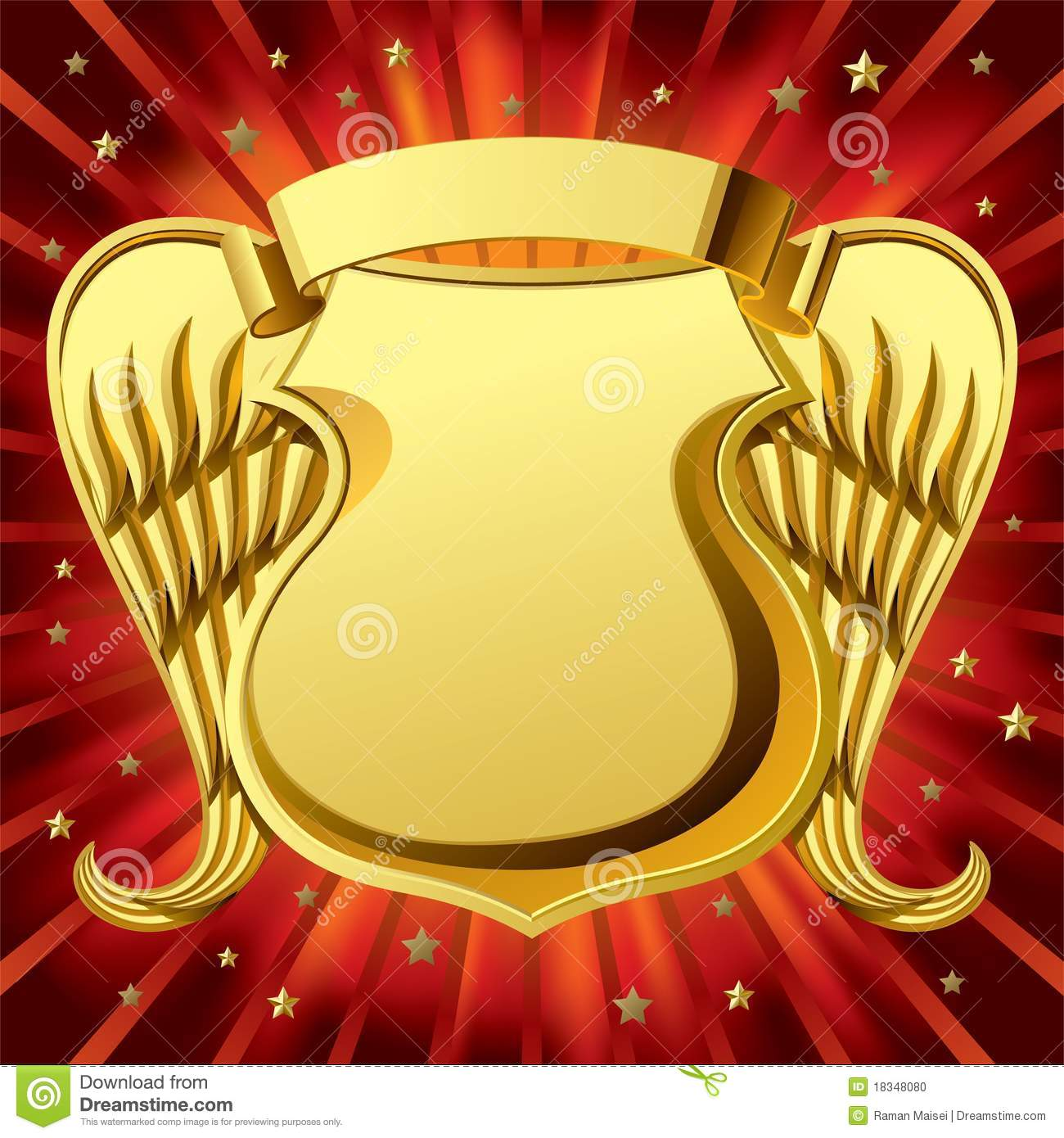 Gold Shield With Wings Stock Photo Image 18348080