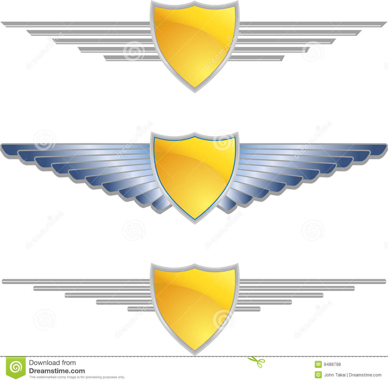 Gold Shield Wings Royalty Free Stock Photos