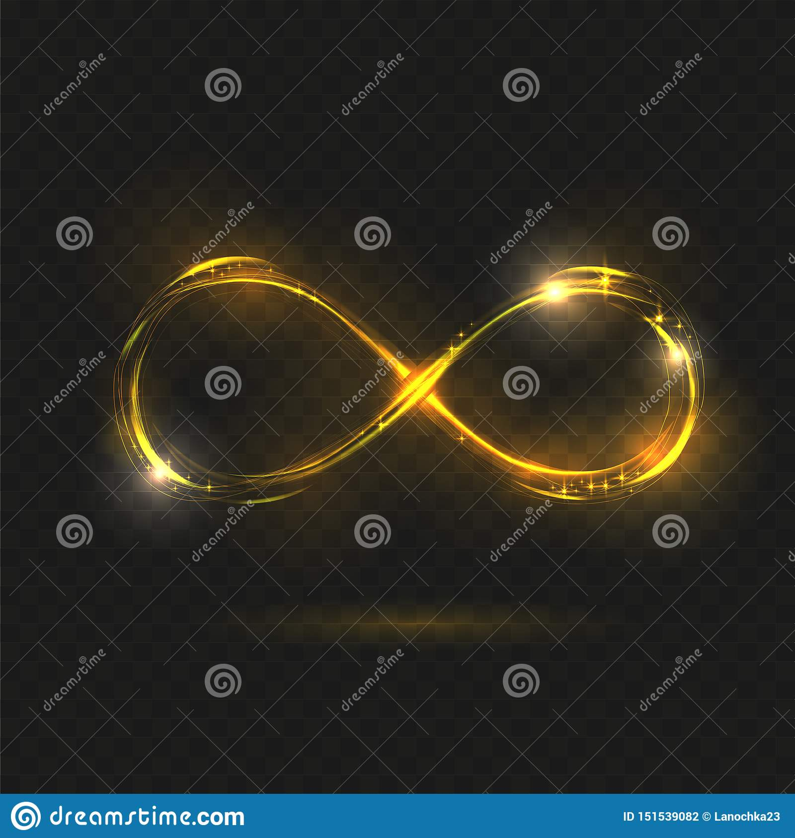 Gold Shining Infinity Symbol. Transparent Sign. Vector illustration. Yellow neon glitter fire spark spiral wavy line