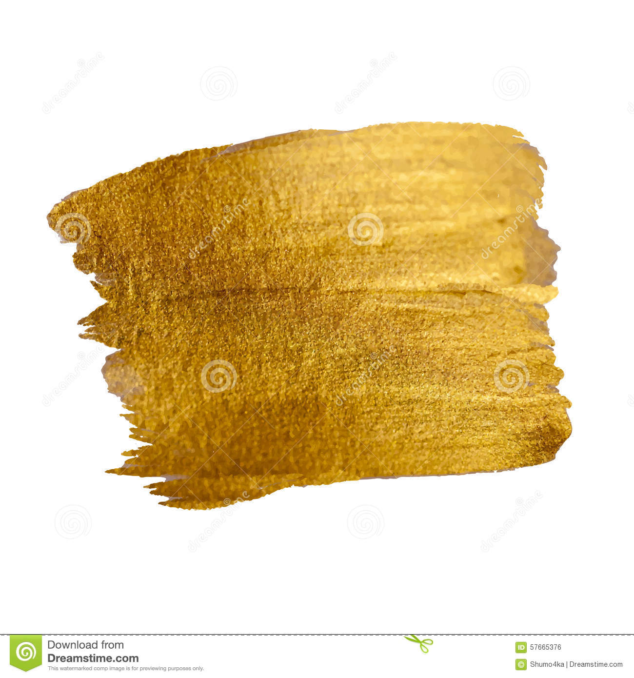 Gold Shining Paint Stain Hand Drawn Vector Stock Vector