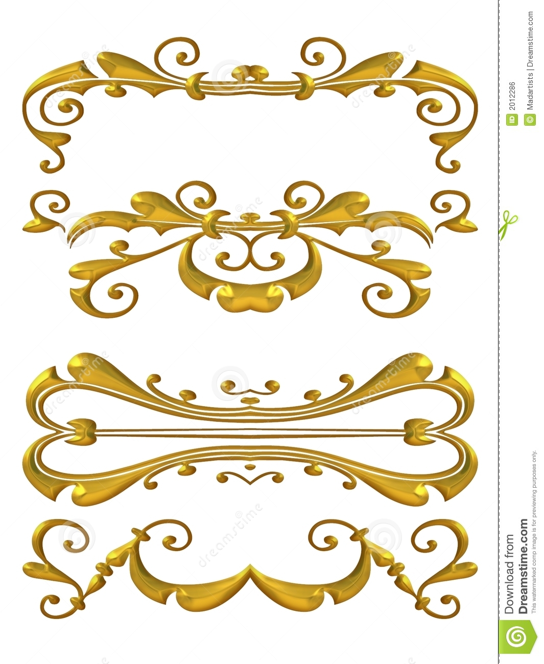 Gold Shiny Flourish Designs Royalty Free Stock Image - Image: 2012286
