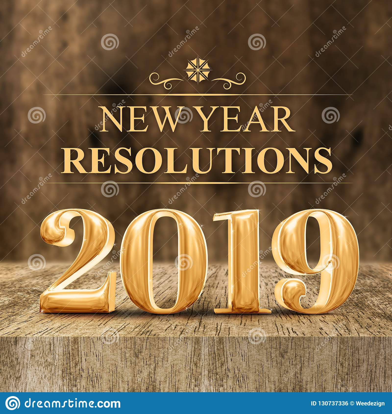 2019 New Years Resolutions Gold Shiny 2019 New Year Resolutions 3d Rendering At Wooden Bl