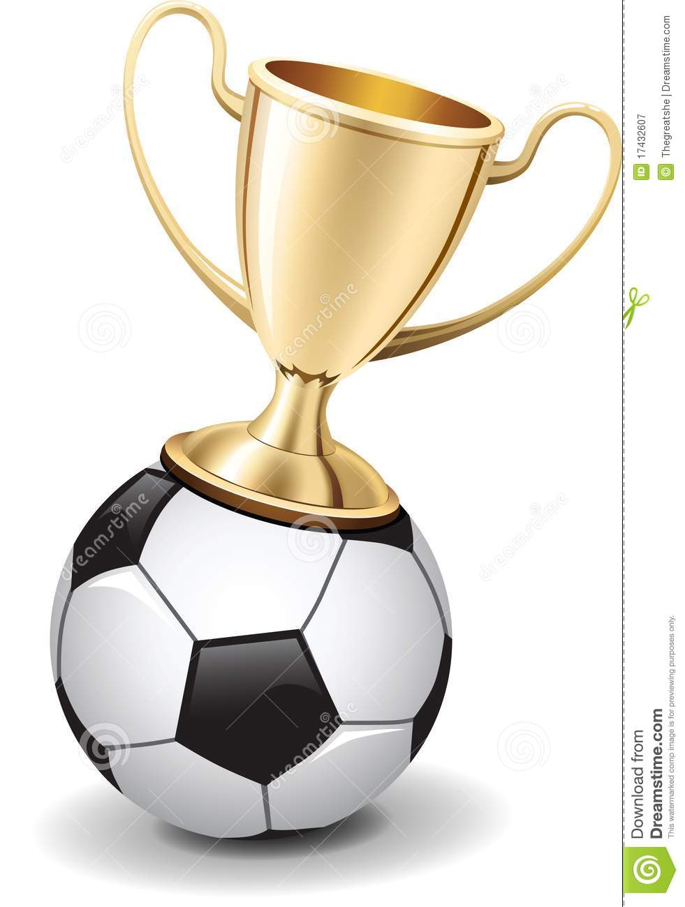 Gold Shiny Trophy Cup On Top Of Soccer Ball Royalty Free Stock ...