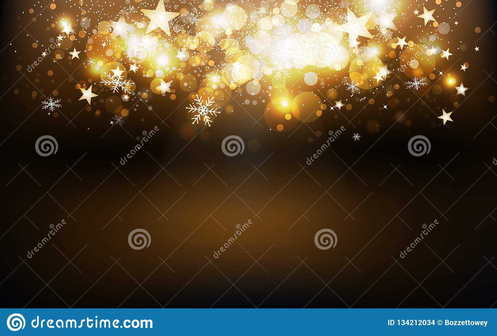 Gold shooting stars burst confetti falling holiday season, snowflakes and dust glowing blur magic fantasy on stage celebration