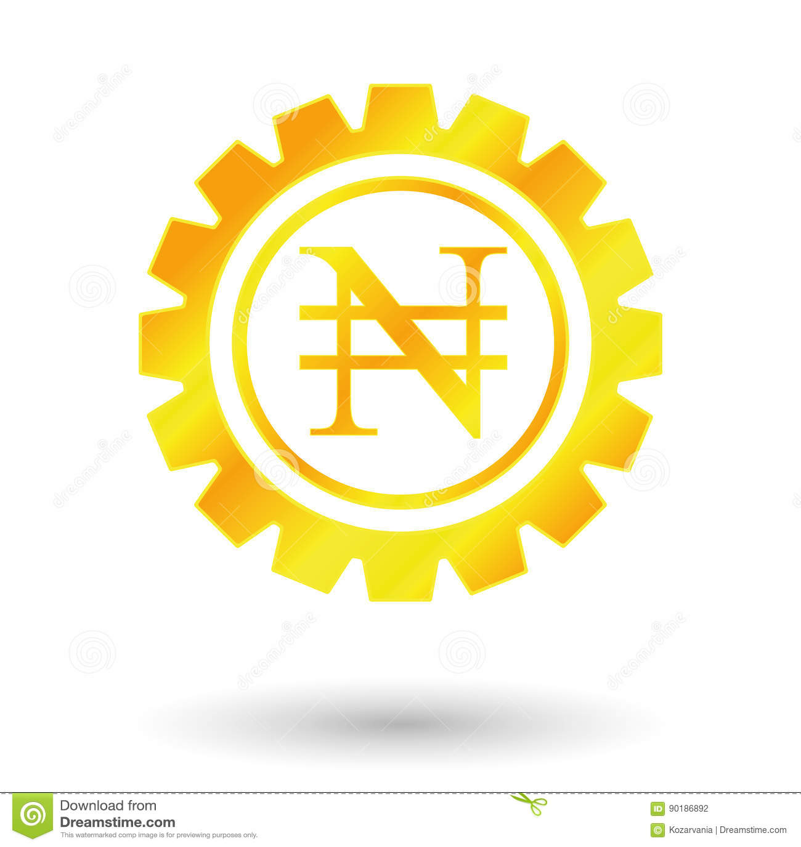 Gold Sign Naira Stock Vector Illustration Of Mechanism 90186892