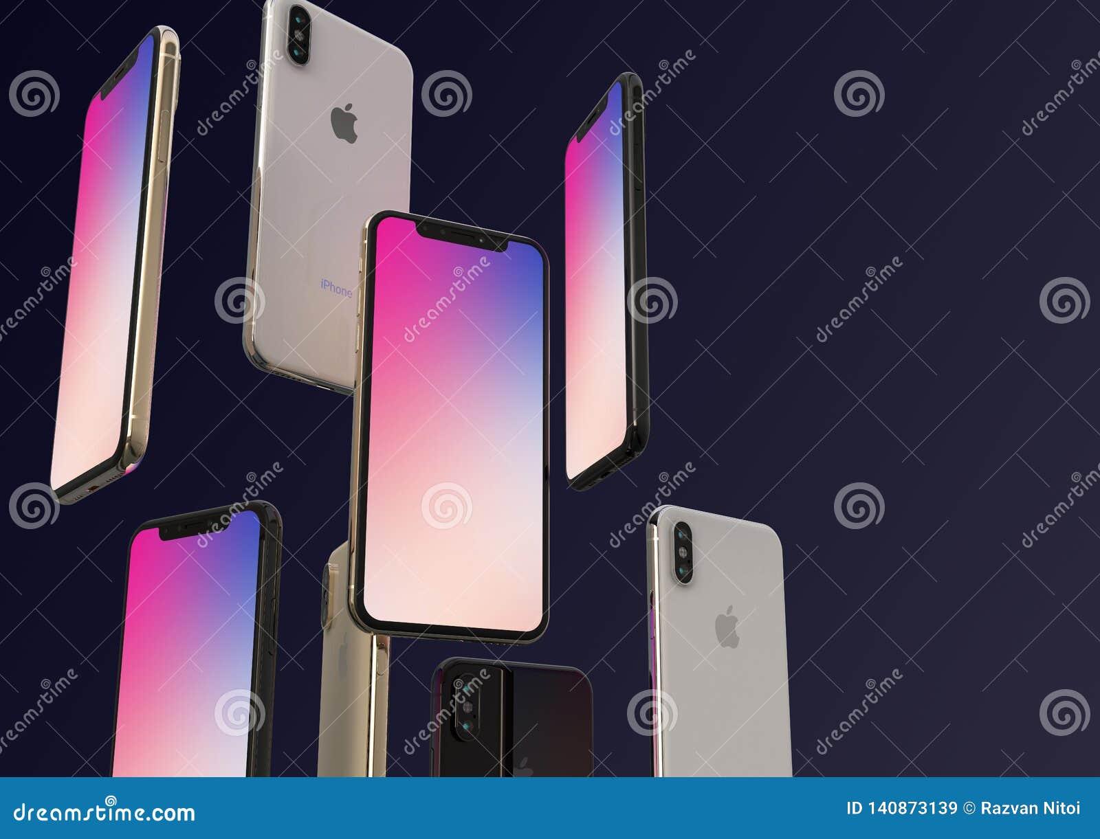 Gold-, Silber und Raum IPhone XS graue Smartphones, schwimmend in einer Luft, bunter Schirm