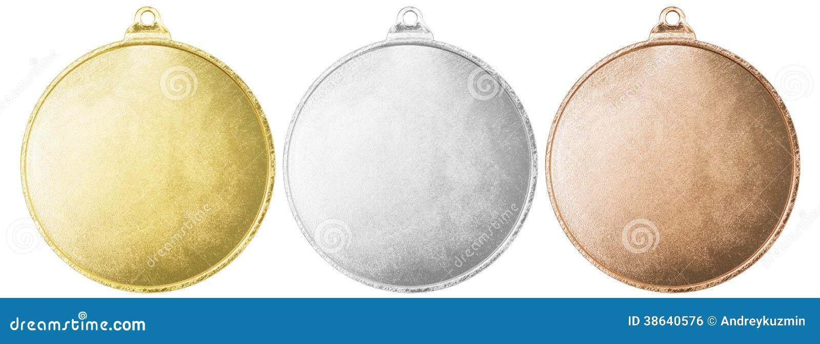 Gold-, silberne und Bronzemedaillen mit Beschneidungspfad