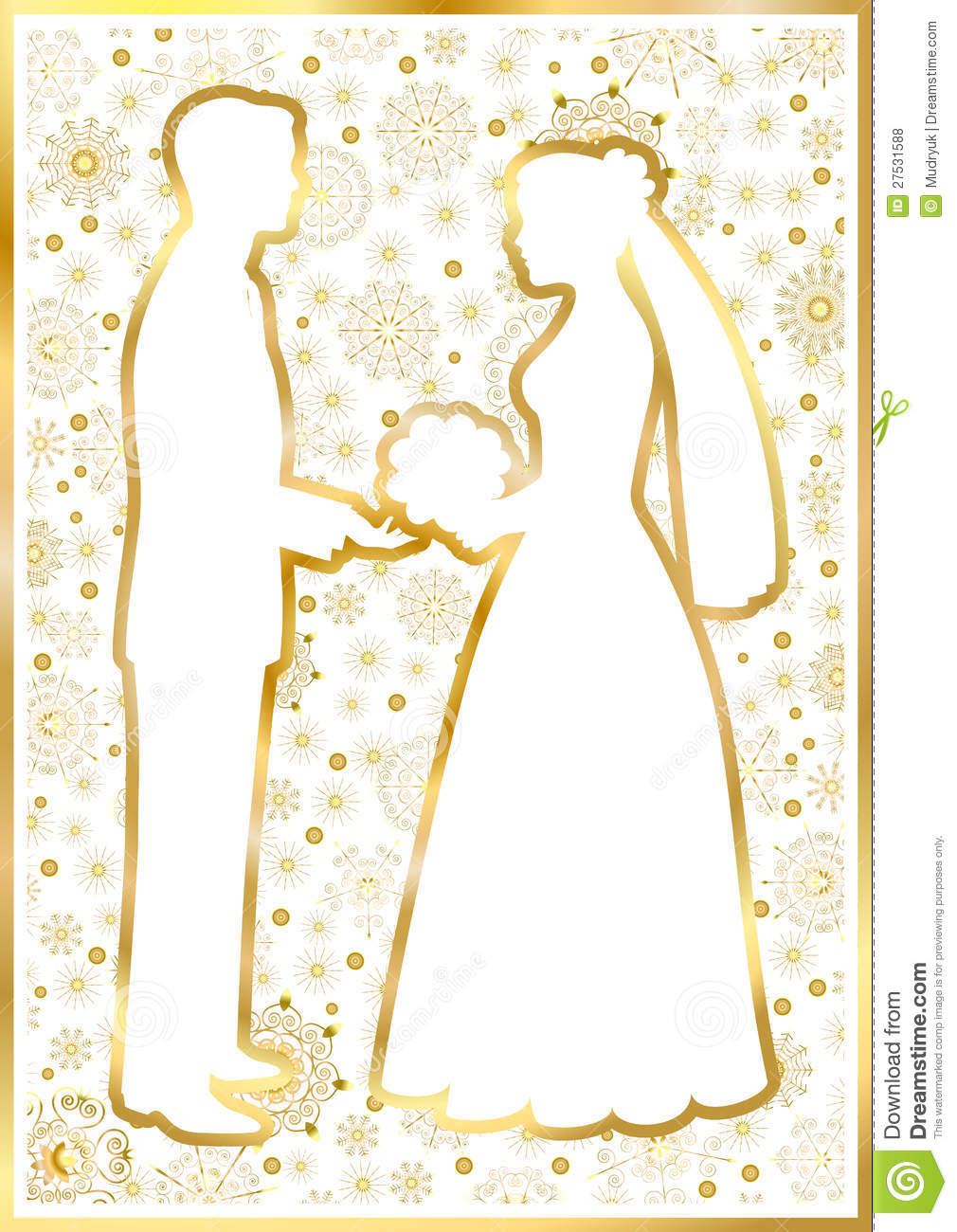 Gold Silhouettes Of The Bride And Groom Royalty Free Stock Photos ...