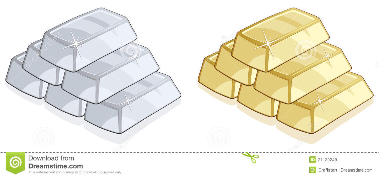 Gold and silver bars stock vector. Image of earnings ...